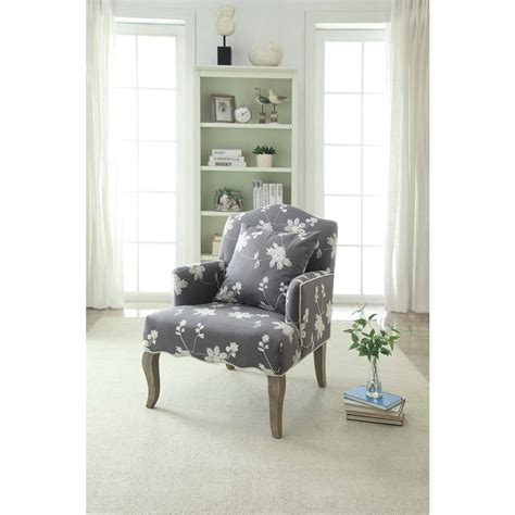 linon home decor linon home decor gray floral polyester arm chair 368312gry01u the home depot