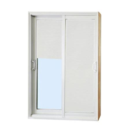 60 Sliding Glass Patio Door Stanley Doors 60 In X 80 In Sliding Patio Door With Mini Blinds White Shop