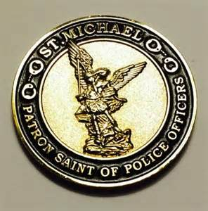 michael patron of officers coin with