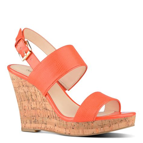 orange sandals for nine west lucini wedge sandals in orange lyst