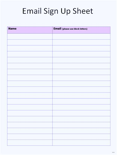 Email Sign Up Sheet Template Current Print Blank In Printable Log Visitor Class And Meeting Email Sign Up Template