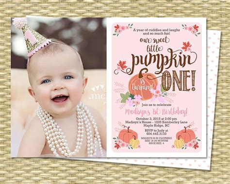 Fall Themed Baby Shower Invitations by Our Little Pumpkin Birthday Invitation First Birthday