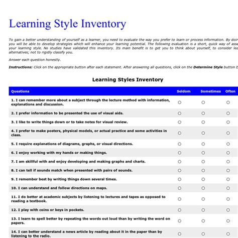 printable learning styles questionnaire kolb learning styles questionnaire printable