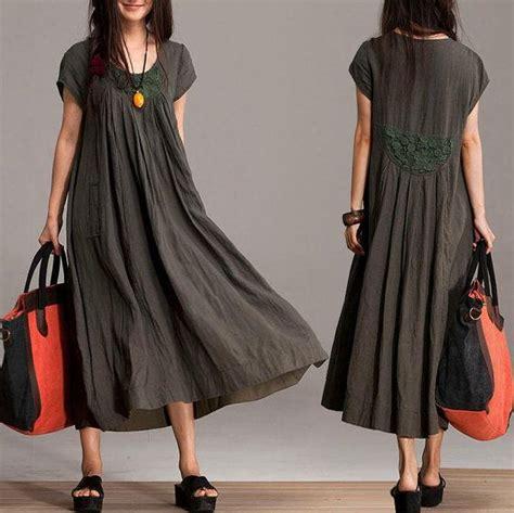 Blue Army Maxi Dress comfort linen maxi dress unique summer crochet army