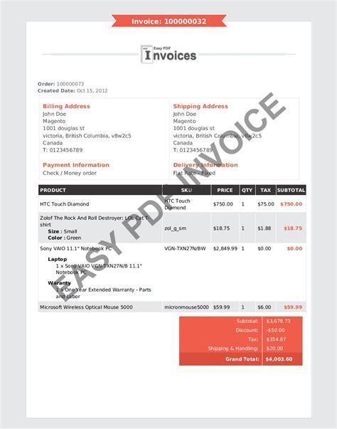 pdf invoice template invoice sle template