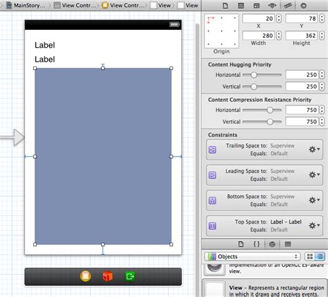 autolayout view size iphone xcode view will not space subviews vertically from