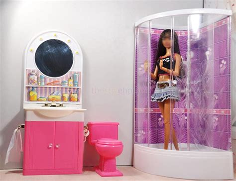 barbie doll house furniture sets barbie size dollhouse furniture bathroom w shower toilet table bathtub play set ebay