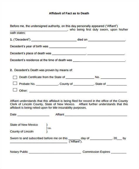 affidavit of facts template 9 affidavit of forms free sle exle format