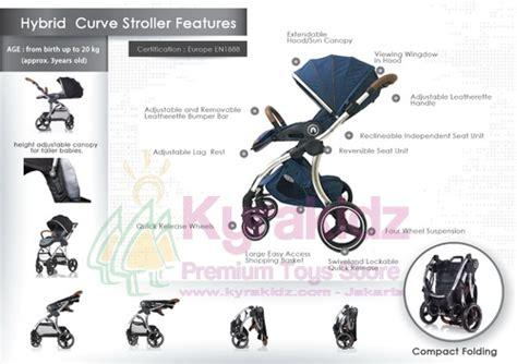 Hybrid Curve Stroller by Baby Style Hybrid Curve Premium Stroller Blue Marine