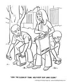 Earth Day Coloring Pages  Clean Up Team sketch template