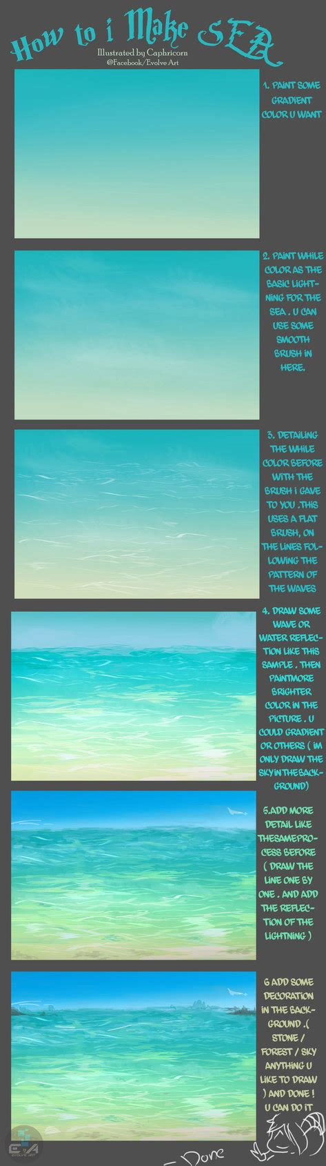 watercolor tutorial beach how to i make sea by caphricorn on deviantart