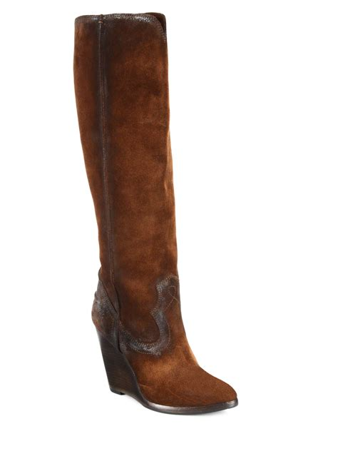 wedge boots lyst frye cece seamed suede wedge boots in brown