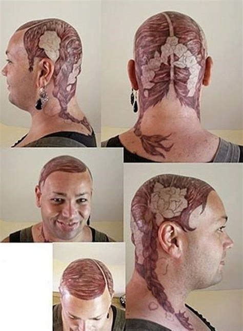 pin up tattoo fail bald guy with pigtails tattoo hair fail bad toupee
