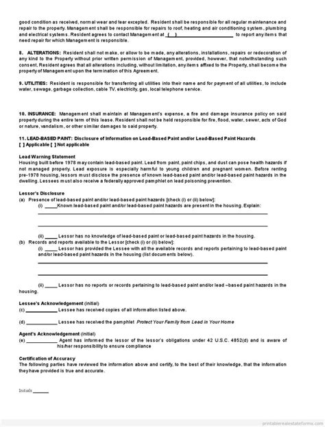 printable standard real estate lease agreement buying