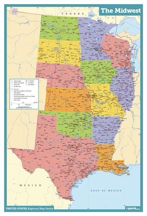 midwest wall map maps