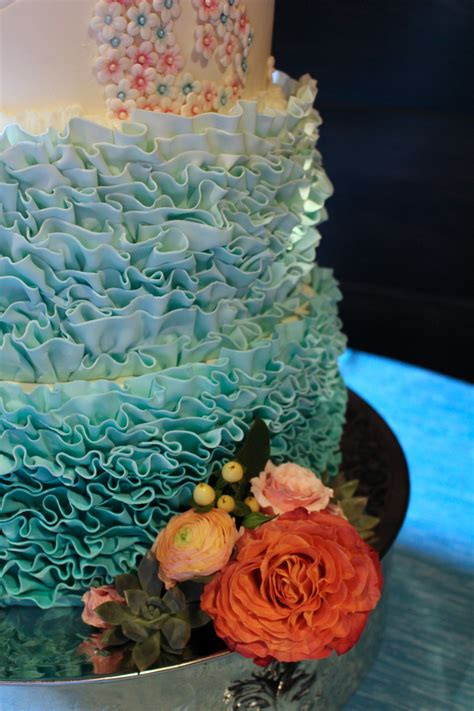 Handmade Sugar Flowers - 5 tier ombre ruffles and handmade sugar flower cake for