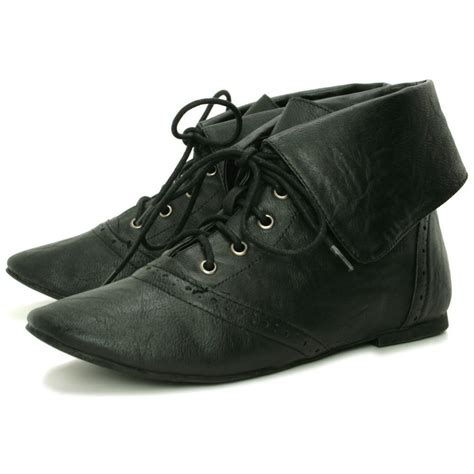 womens black brogue flat lace up ankle pixie boots from