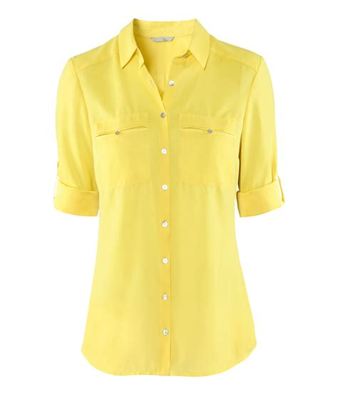 Yell O Blouse lyst h m blouse in yellow