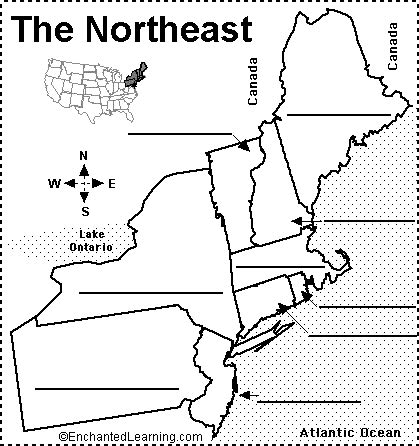 printable us map by regions northeast states and capitals quiz label northeastern us