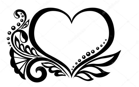 symbole en noir et blanc d un coeur avec dessin floral et