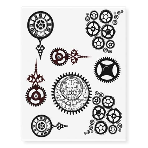 steampunk gears clock pocket watch temp tats temporary