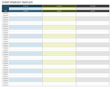 itenary template free itinerary templates smartsheet