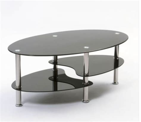 Black Oval Glass And Steel Cara Coffee Table Oval Coffee Tables Uk