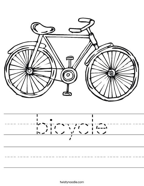 bicycle worksheet twisty noodle