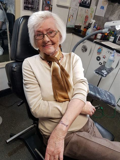 old women with tattoos 82 year gets in memory of late husband