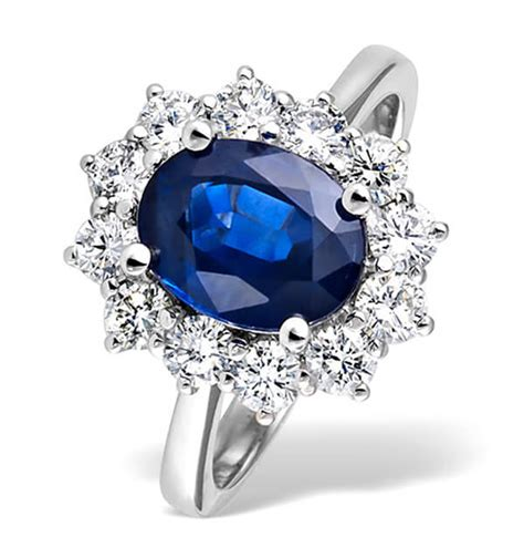 Blue Safir With Ring princess diana style blue sapphire ring