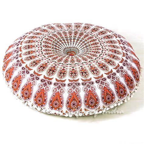 white bohemian floor cushion pillow mandala floor pillows eyes  india