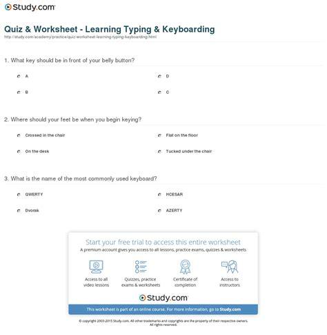 Keyboarding Worksheets by Quiz Worksheet Learning Typing Keyboarding Study