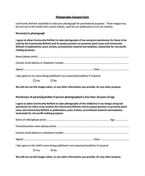 photography permission form template 10 photography consent forms sle templates