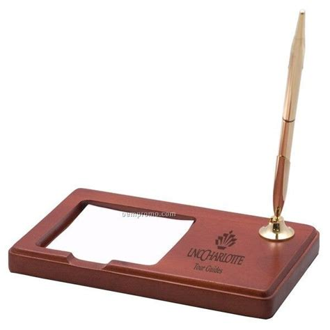 rosewood desk pen memo pad holder china wholesale