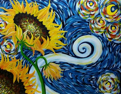 acrylic paint gogh cinnamon cooney s starry sunflowers 16x20 acrylic