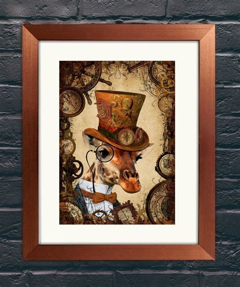 art and home decor steunk dandy giraffe a4 art print wall art home decor