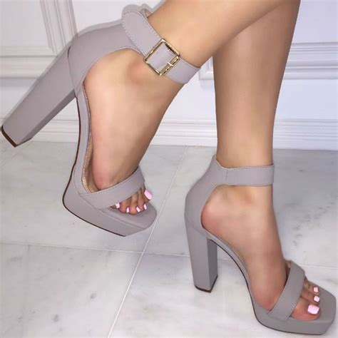 cheap grey high heels ankle open toe chunky heels 2 colors availble sko