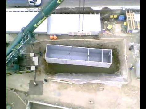 vasche di decantazione gru cantiere edile posa vasca di decantazione acque