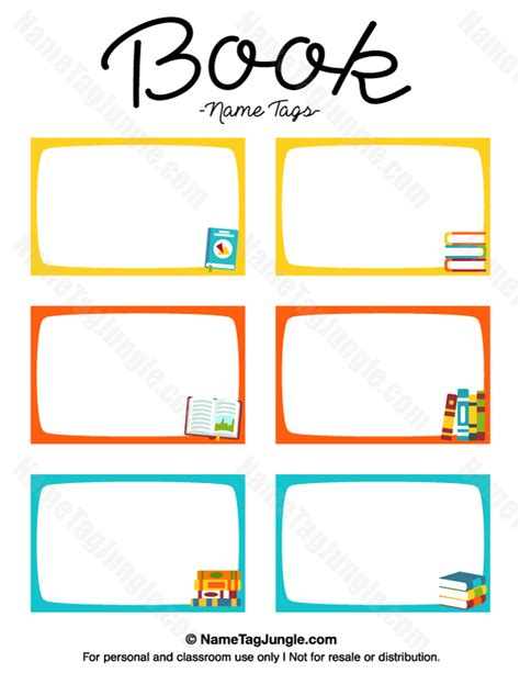 classroom card template free printable book name tags the template can also be