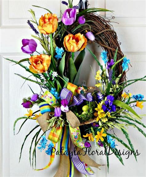 Primitive Decorations For The Home spring tulip wreath yellow orange purple tulip wreath
