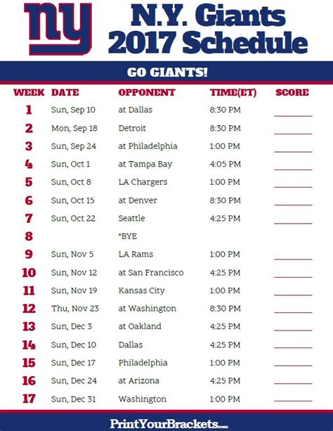 Sf Giants Schedule 2017 Printable