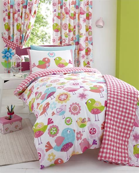kids curtains and bedding floral birds childrens girls quilt duvet cover bed sets or