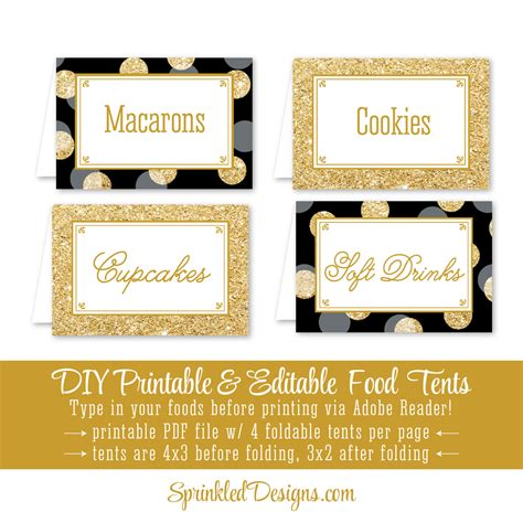 food cards for buffet table template black gold glitter printable food tents folding