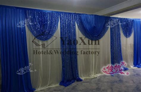 Blue Swag Curtains Free Shipping White Wedding Backdrop Curtains Wedding Decoration With Royal Blue Swag And Sequin
