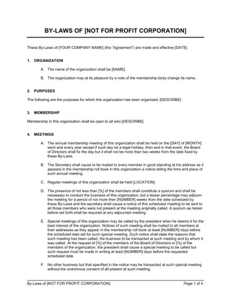 free nonprofit bylaws template corporate bylaws exles free printable documents