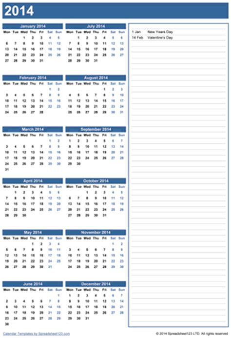 yearly calendar  notes  template  excel