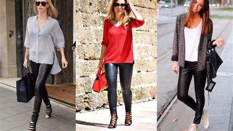 leggings cuero leggings de cuero tendencia de moda mujer 2018 youtube