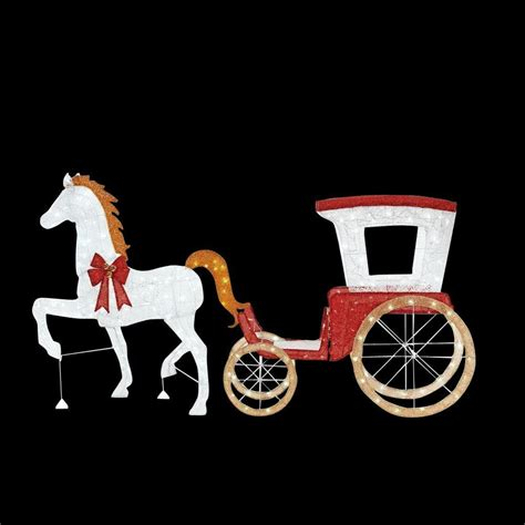 lighted christmas horse and carriage home accents 52 in led lighted with 52 in led lighted acrylic sleigh ty310 1611