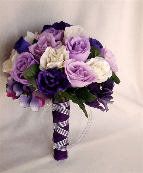 Silk Flowers Wedding Bouquet by Silk Purple Bridal Bouquets Package Custom For Helen