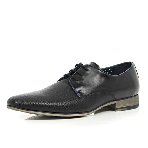 river island shoes river island black embossed leather formal shoes in black